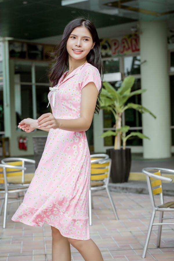 Váy công sở ELMI cao cấp hoa nhí màu hồng nhạt EV12