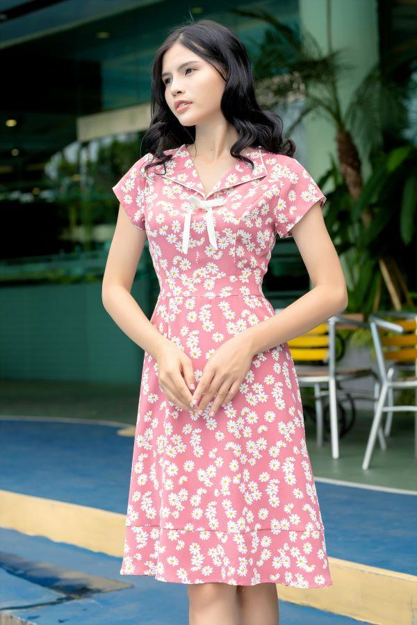 Váy công sở ELMI cao cấp hoa nhí màu tím hồng EV14