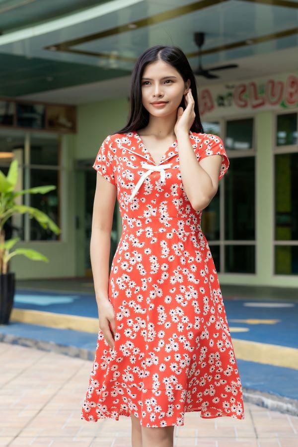 Váy công sở ELMI cao cấp hoa nhí màu cam đỏ EV15