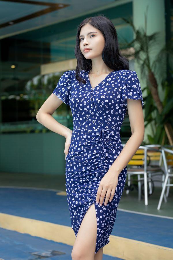 Váy xẻ rút dây ELMI cao cấp hoa nhí màu xanh tím than EV16