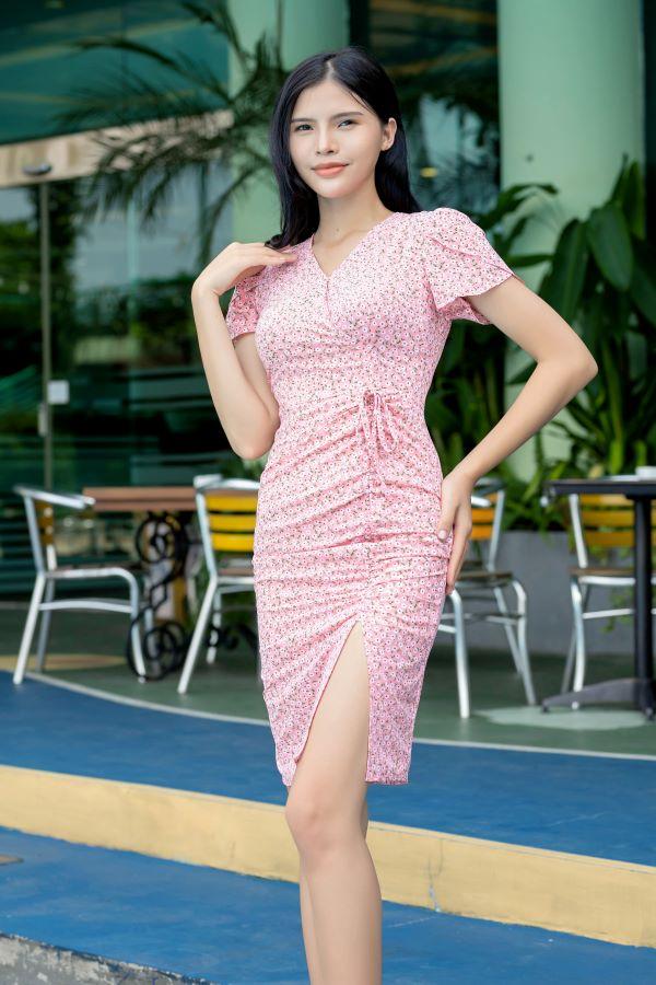 Váy xẻ rút dây ELMI cao cấp hoa nhí màu hồng EV19