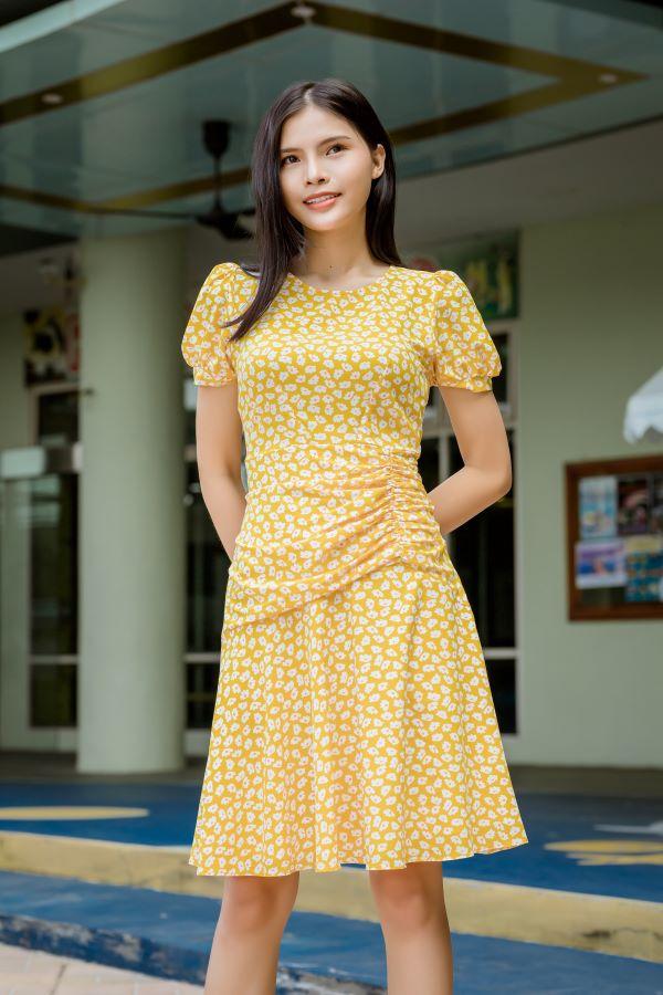 Váy xòe xếp bèo ELMI cao cấp hoa nhí màu vàng EV21