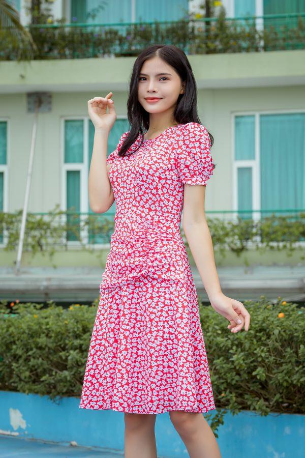 Váy xòe xếp bèo ELMI cao cấp hoa nhí màu đỏ EV22
