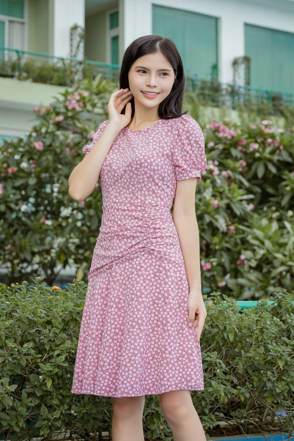 Váy xòe xếp bèo ELMI cao cấp hoa nhí màu hồng EV23