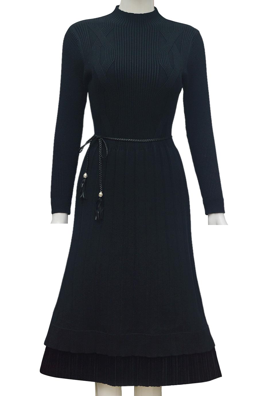 Váy len thời trang phối gấu nhung ELMI cao cấp màu đen EV43-1