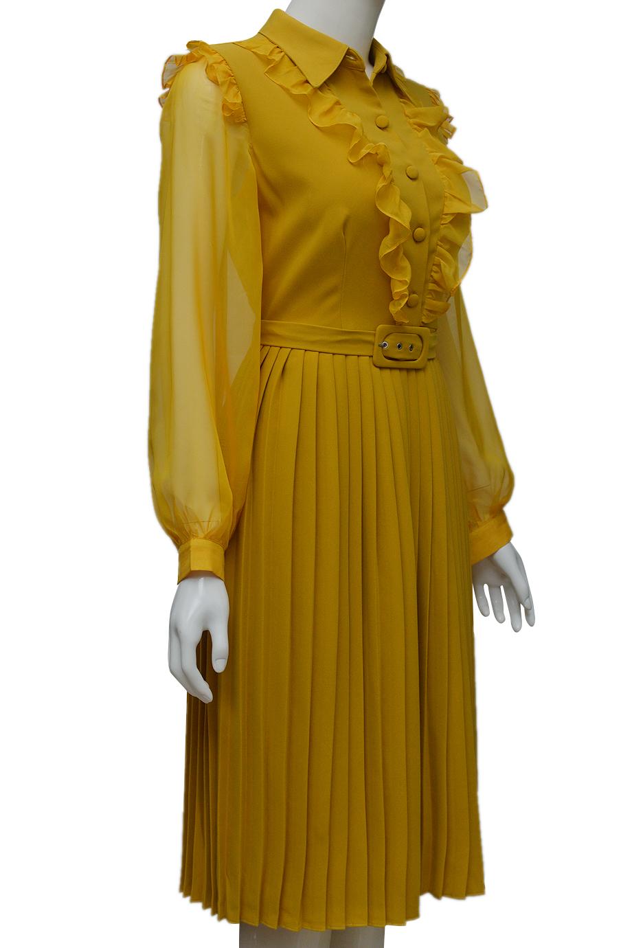 Váy xếp ly ELMI thời trang cao cấp màu vàng EV49