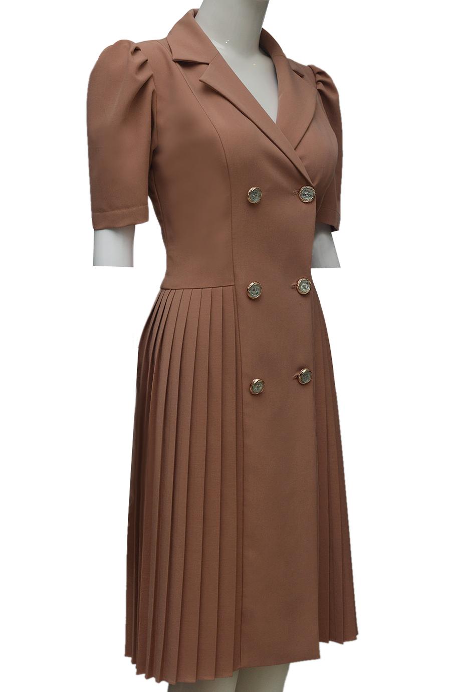 Váy xếp ly ELMI thời trang cao cấp màu be EV51