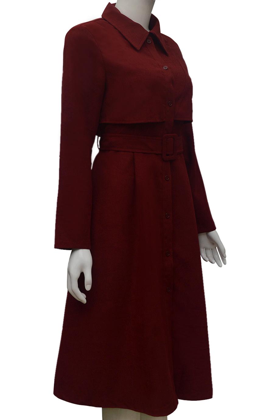 Váy choàng dài nhung ELMI thời trang cao cấp màu đỏ đô EV52