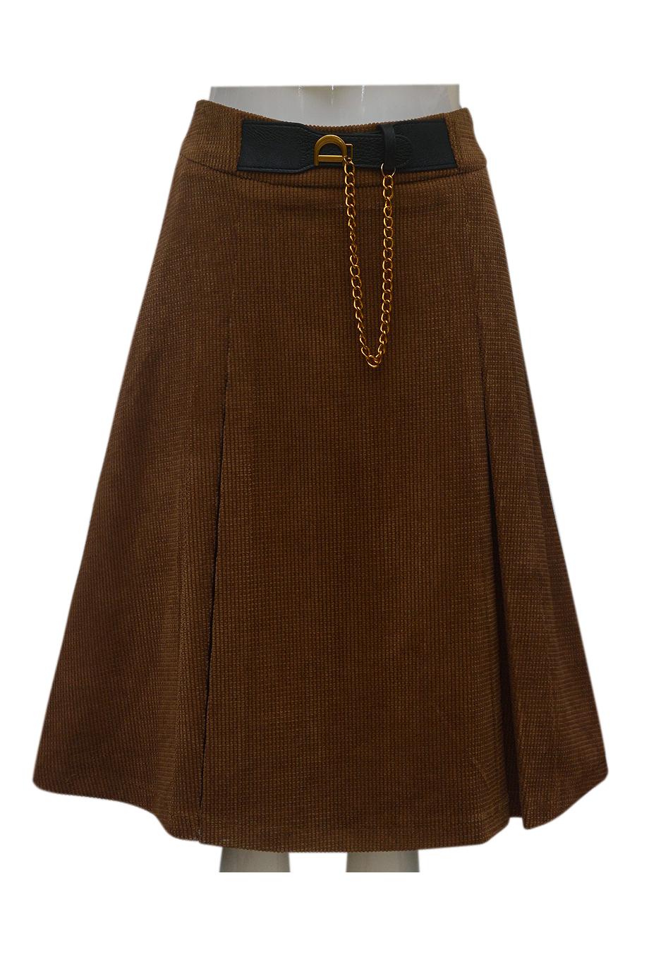 Chân váy nhung tăm ELMI thời trang cao cấp màu nâu EV54