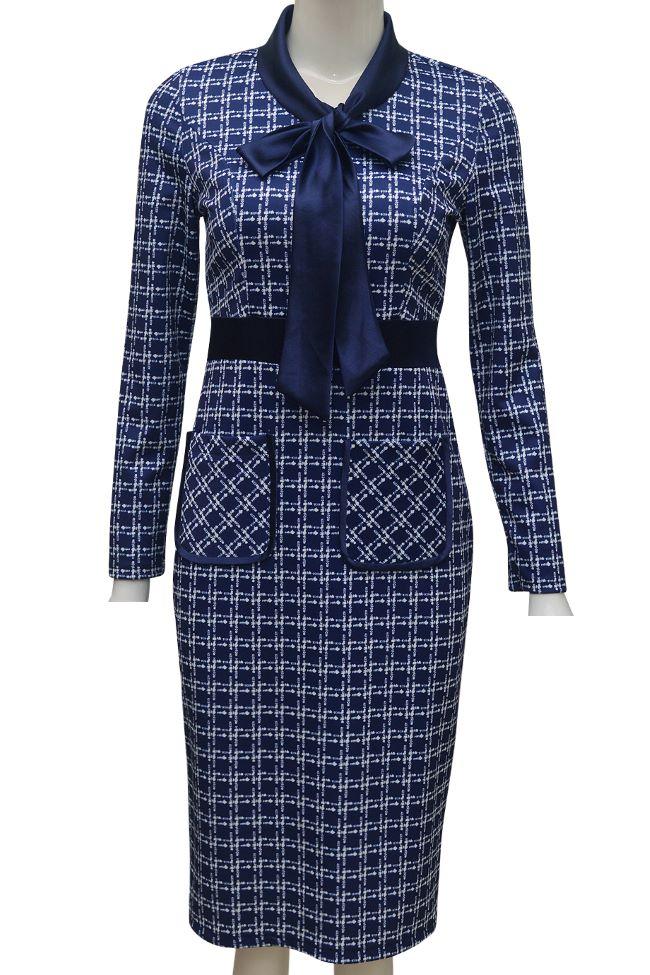 Váy kẻ ELMI cao cấp màu xanh EV57