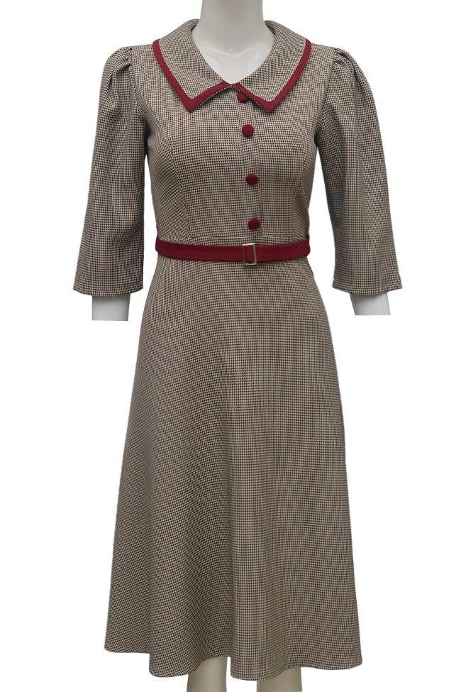 Váy xòe kẻ ELMI thời trang cao cấp màu nâu viền đỏ EV58