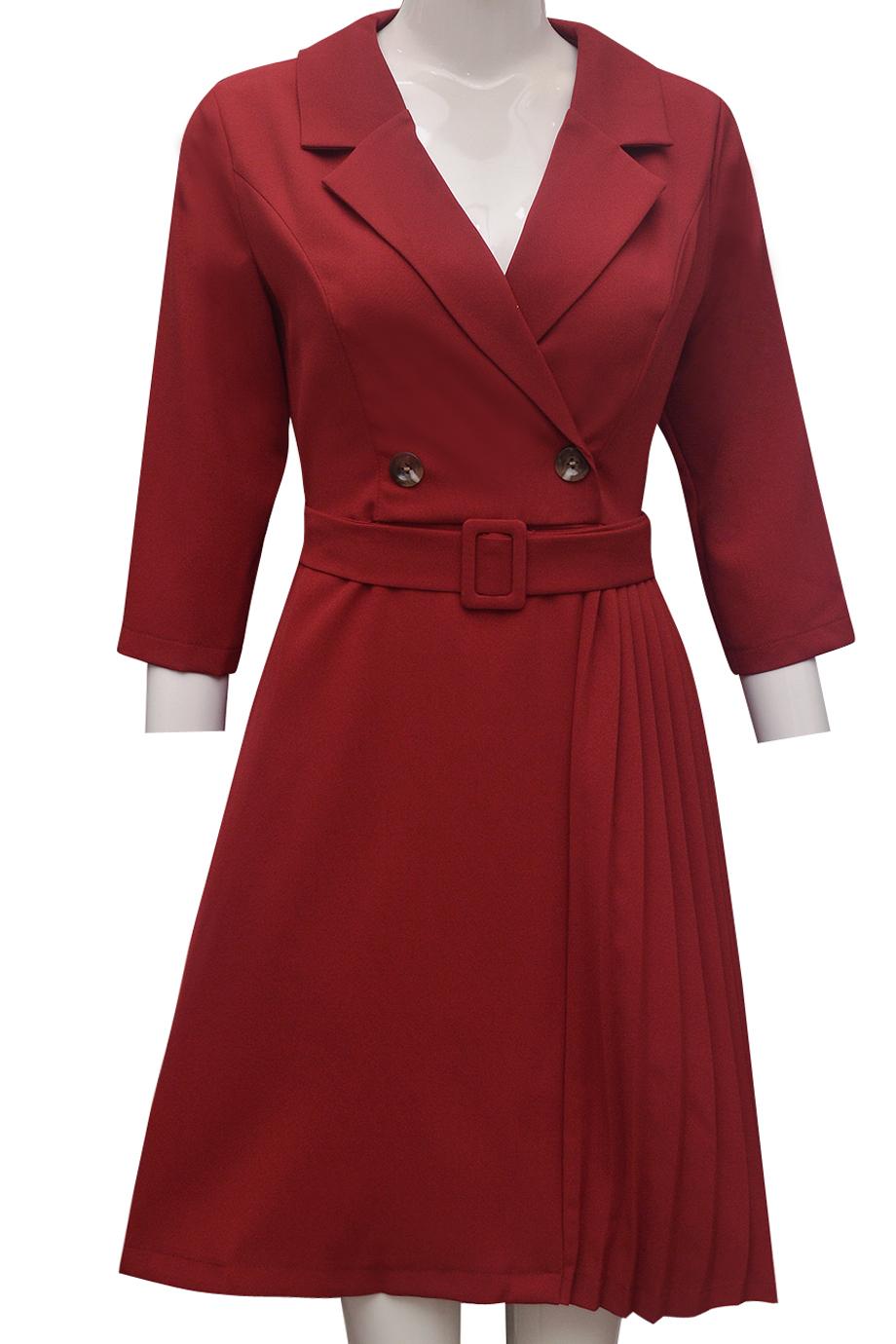 Váy xếp ly ELMI thời trang cao cấp màu đỏ đô EV59-1