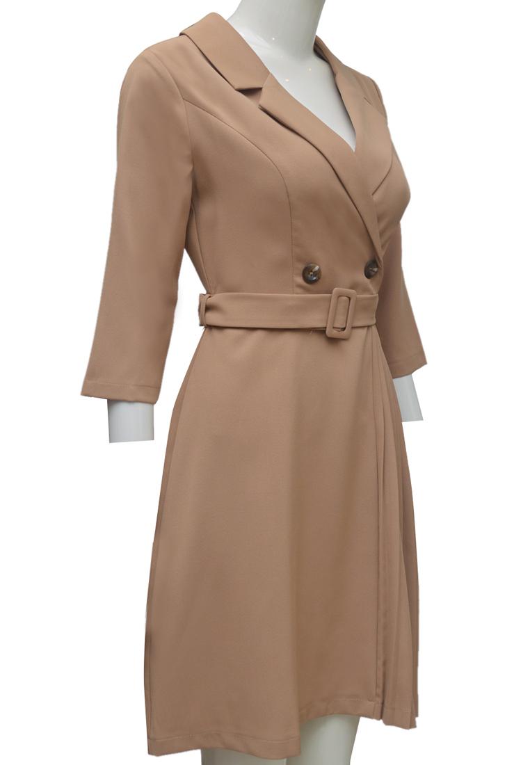 Váy xếp ly ELMI thời trang cao cấp màu be EV59
