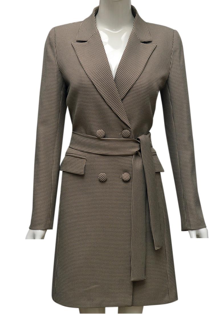 Áo khoác kẻ nữ ELMI thời trang cao cấp màu nâu EV61
