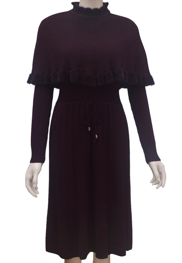 Set váy len áo choàng nữ ELMI thời trang cao cấp màu tím EV70