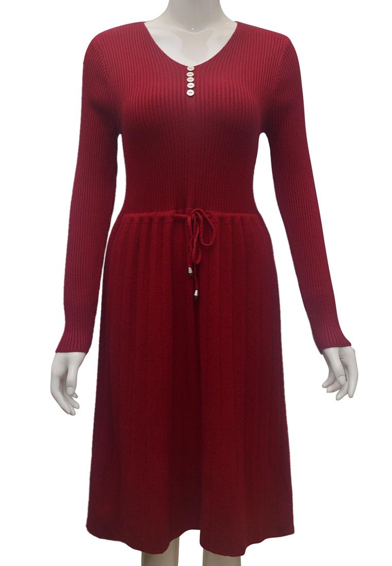 Set váy len áo choàng nữ ELMI thời trang cao cấp màu đỏ đô EV71