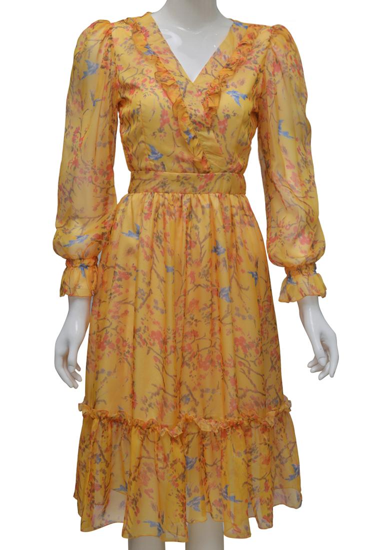 Váy voan hoa ELMI thời trang cao cấp màu vàng EV74