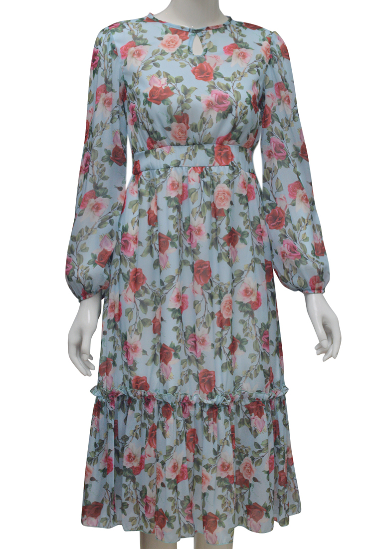 Váy voan hoa ELMI thời trang cao cấp màu xanh da trời EV75