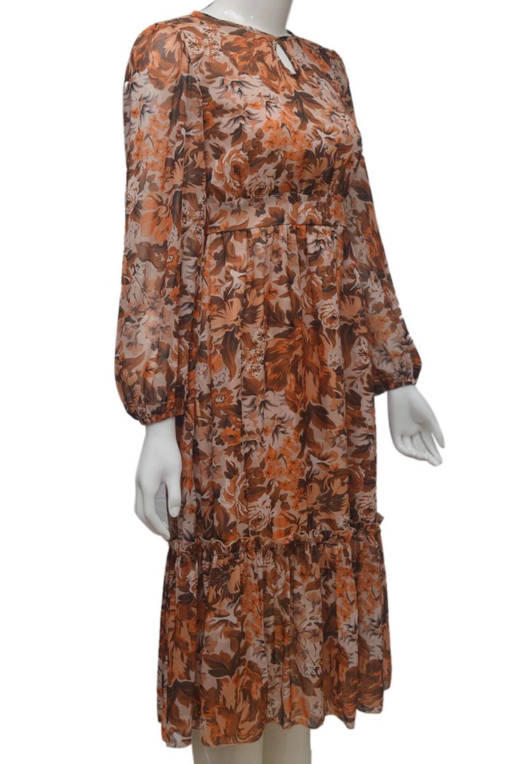 Váy voan hoa ELMI thời trang cao cấp màu nâu EV76