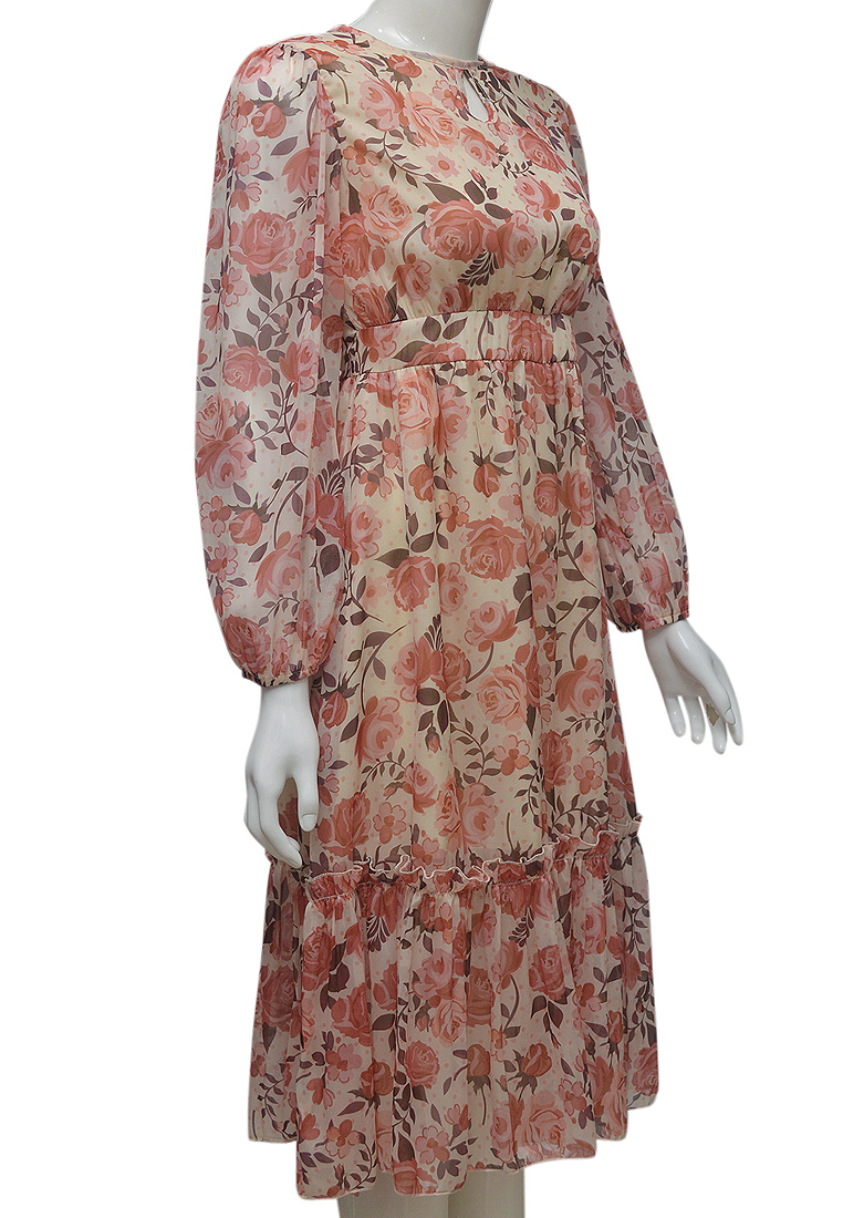 Váy voan hoa hồng ELMI thời trang cao cấp EV77