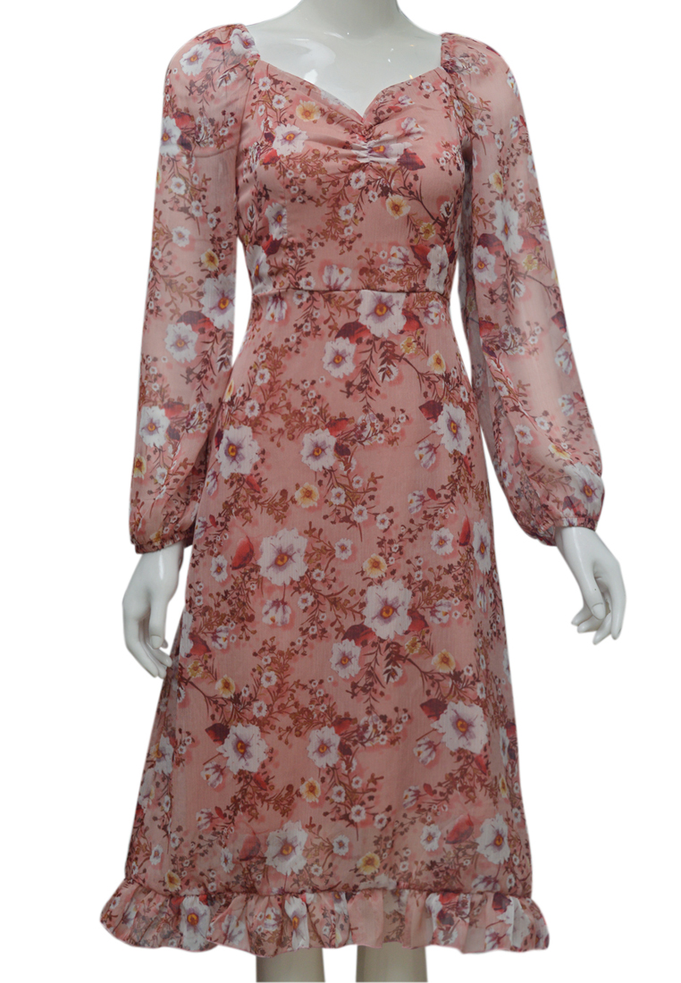Váy voan hoa ELMI thời trang cao cấp màu hồng EV78