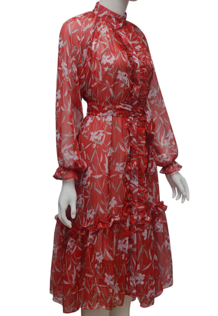 Váy voan hoa ELMI thời trang cao cấp màu đỏ EV79