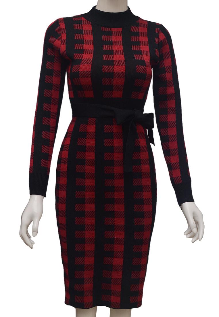 Váy len kẻ dáng ôm ELMI thời trang cao cấp màu đỏ EV80-1
