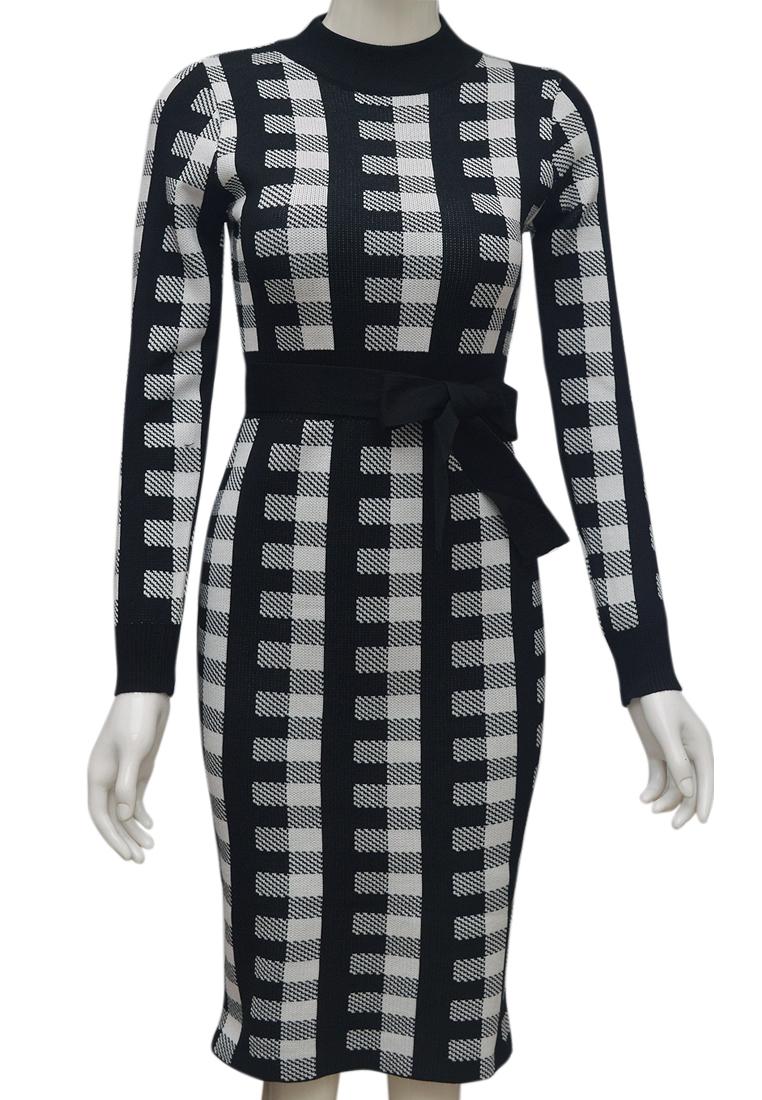 Váy len kẻ dáng ôm ELMI thời trang cao cấp màu đen EV80