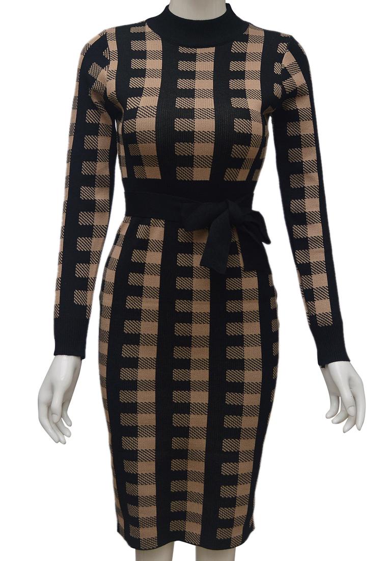 Váy len kẻ dáng ôm ELMI thời trang cao cấp màu đen EV80-2