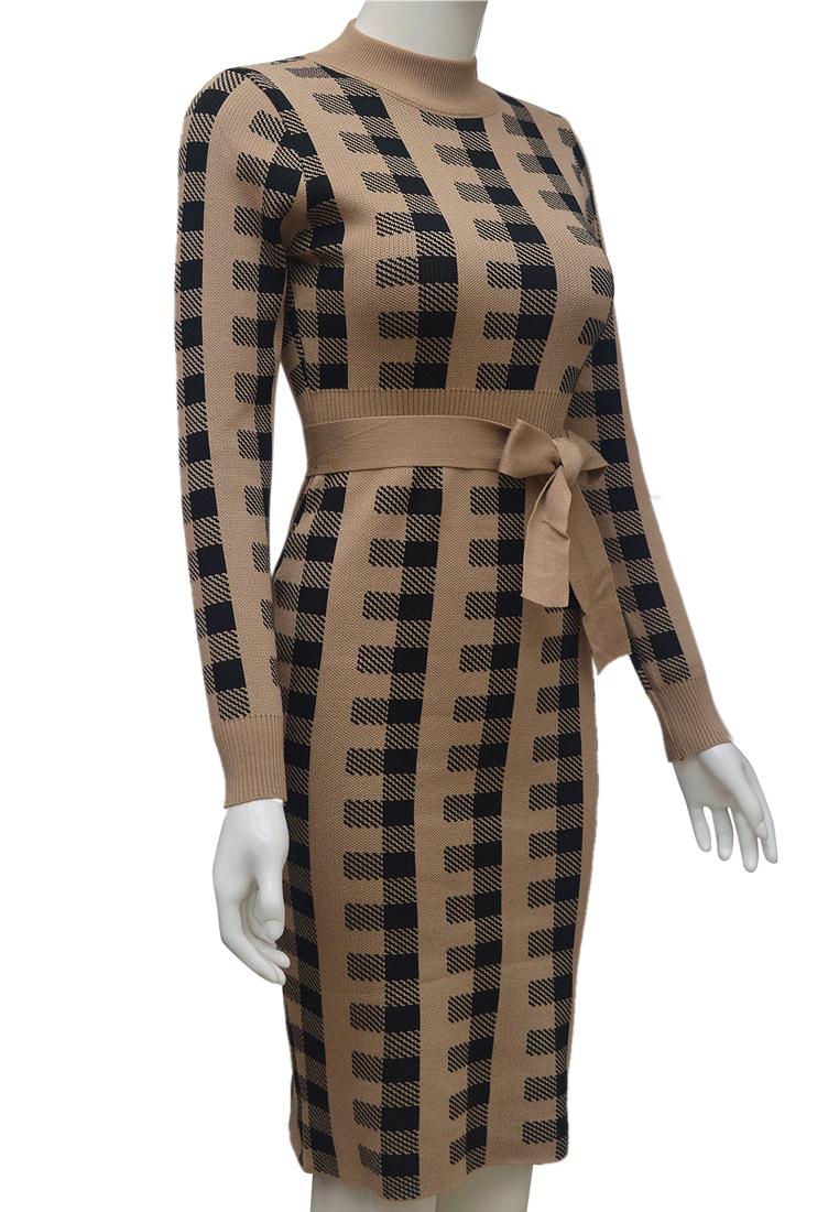 Váy len kẻ dáng ôm ELMI thời trang cao cấp màu be EV80-3