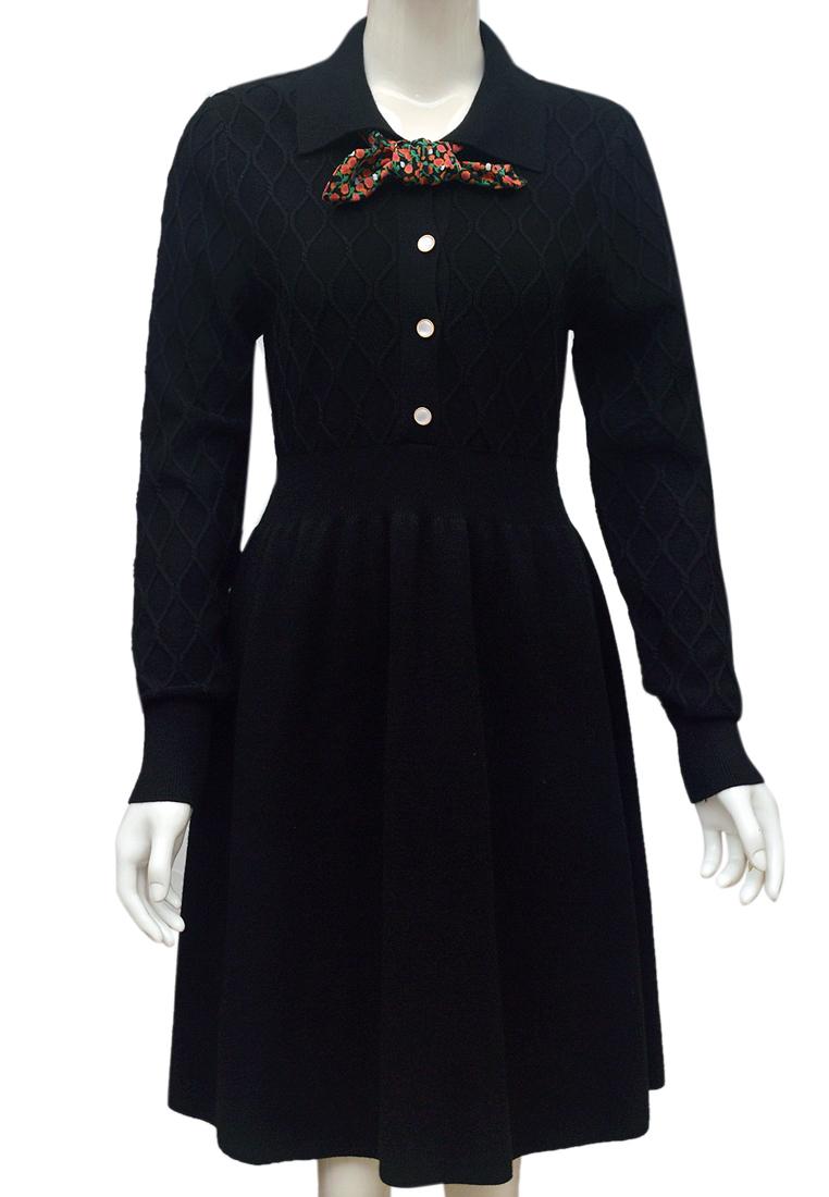 Váy len nữ cổ khăn ELMI thời trang cao cấp màu đen EV81-1