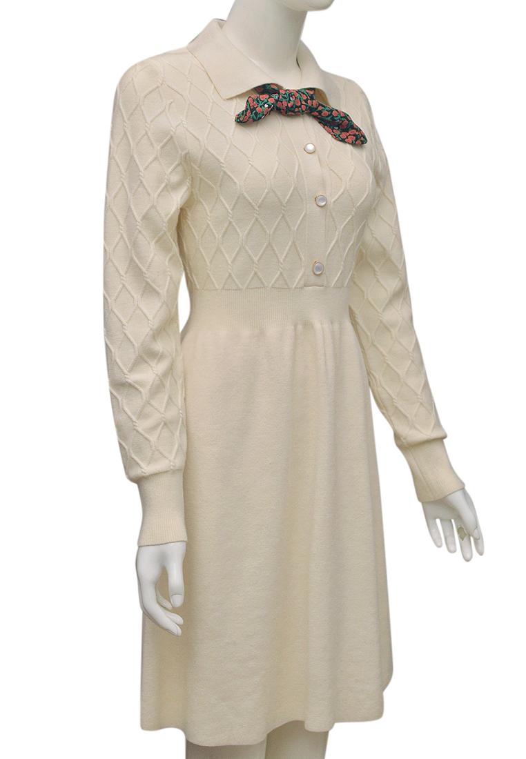 Váy len nữ cổ khăn ELMI thời trang cao cấp màu trắng EV81-2