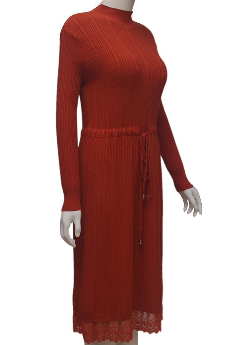 Váy len phối ren ELMI thời trang cao cấp màu cam EV87
