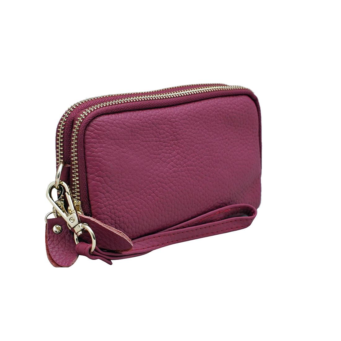 Ví nữ da bò thật cao cấp ELMI màu tím hồng EVW233