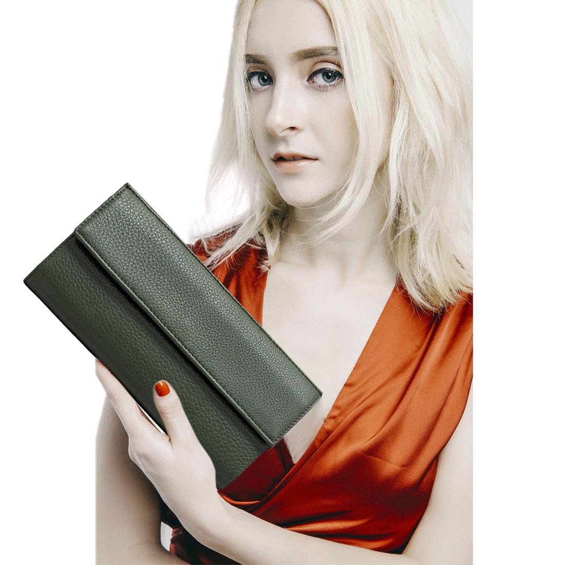 Ví nữ cầm tay da bò thật cao cấp màu đen EVW60-1