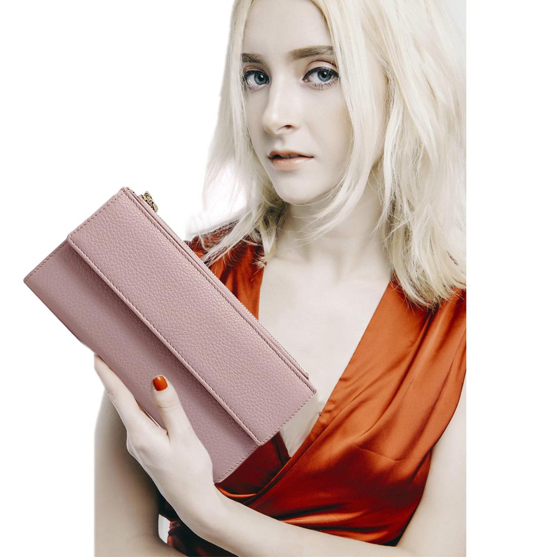 Ví nữ cầm tay da bò thật cao cấp màu hồng EVW60-2