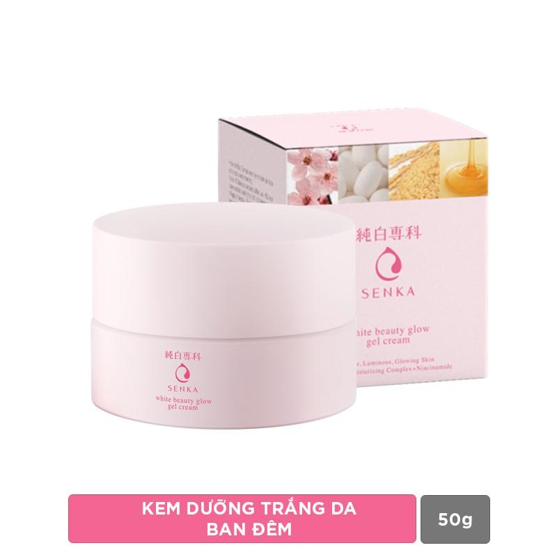 Kem dưỡng trắng da ban đêm Senka White Beauty Glow Gel Cream 50g - Hàng Nhật nội địa