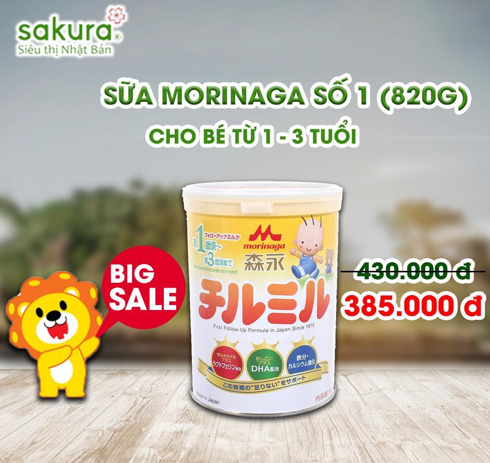 BIG SALE/ Sữa Morinaga 1-3 hộp sắt 820g - Hàng Nhật nội địa