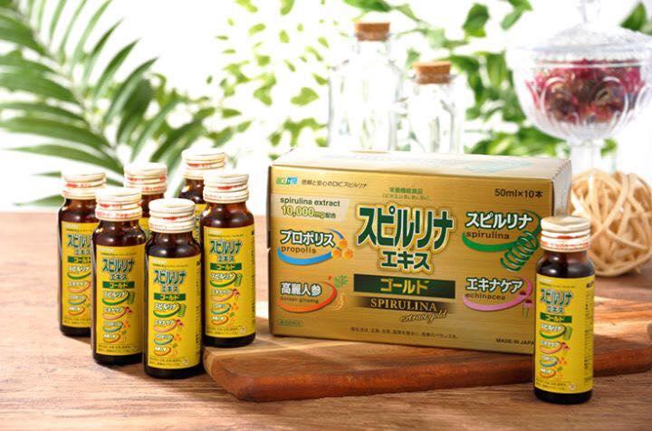 Tinh chất tảo tươi Spirulina Extract Gold (hộp 10 lọ) - Hàng Nhật nội địa