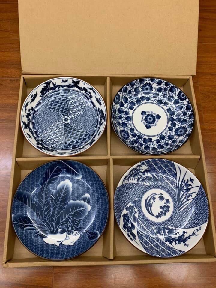 Bộ 4 đĩa men sứ Nhật Bản - Hàng Nhật nội địa