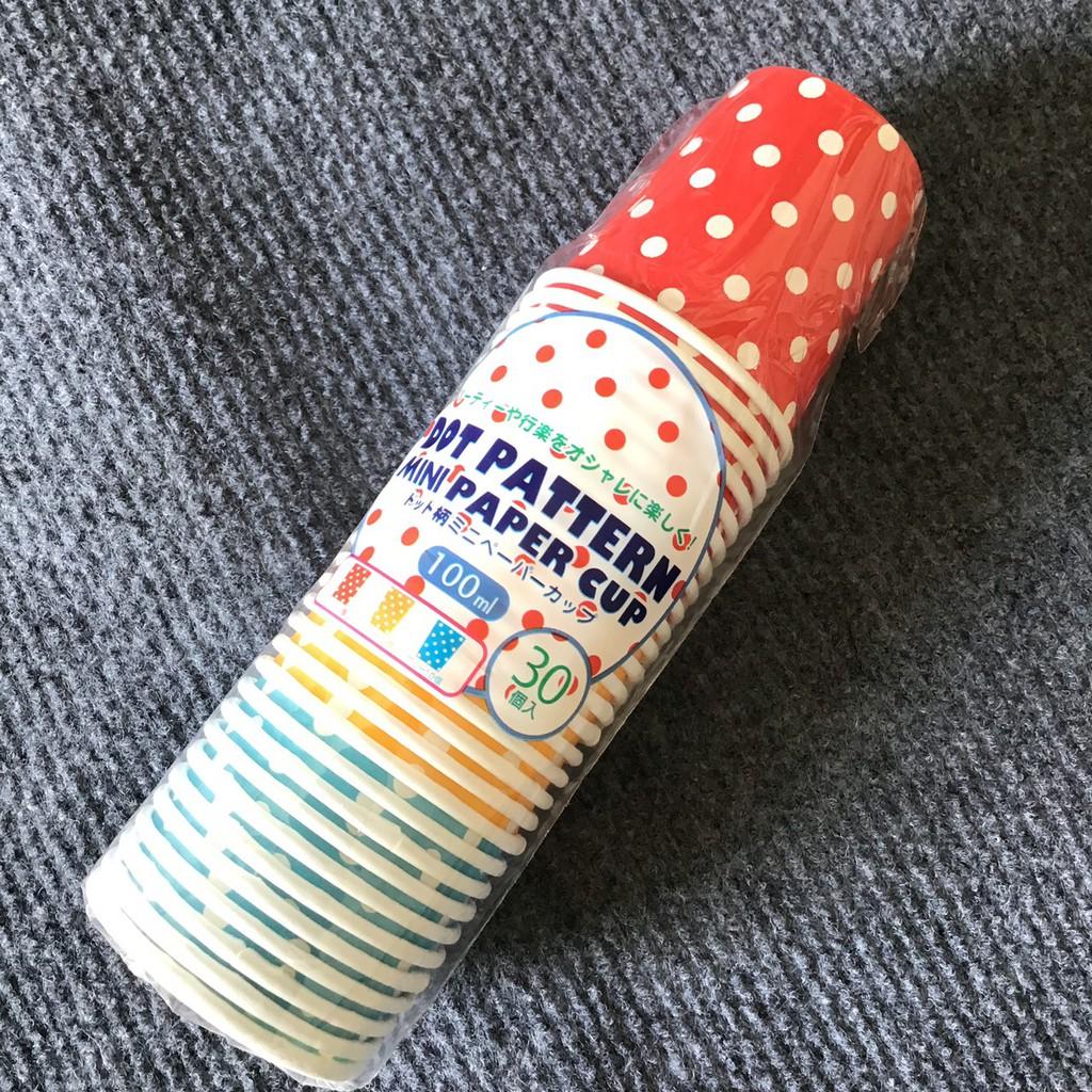 Set 30 cốc giấy chấm bi dung tích 100ml- Hàng Nhật nội địa