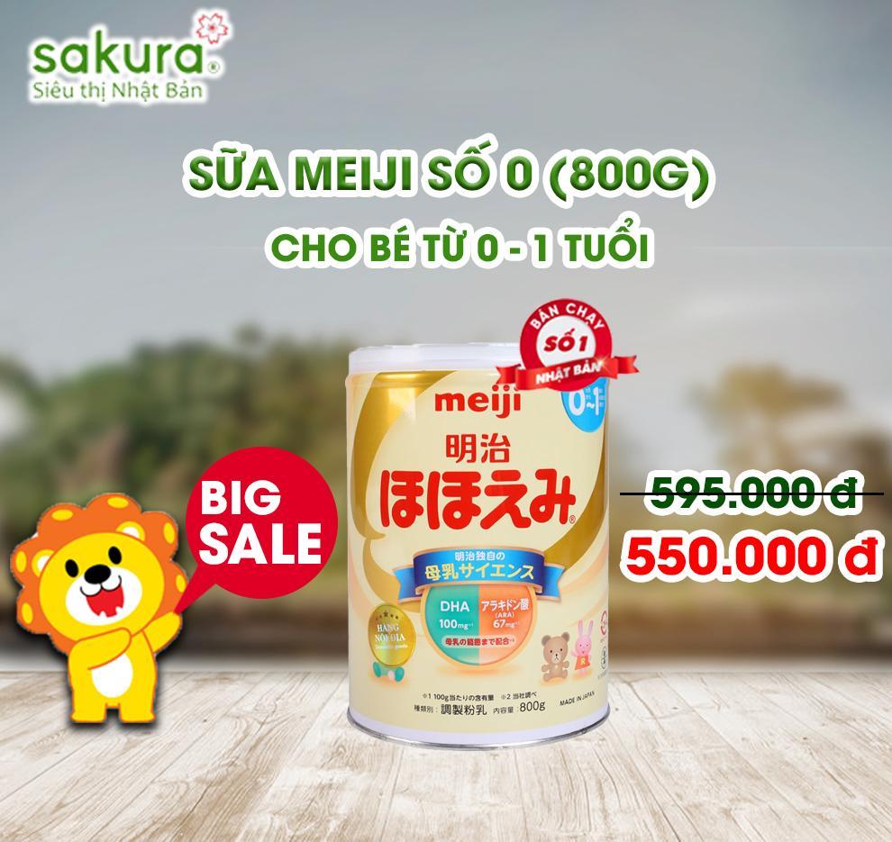( BIG SALE ) Sữa Meiji số 0 cho trẻ từ 0 - 1 tuổi (hộp 800g)- Hàng Nhật nội địa