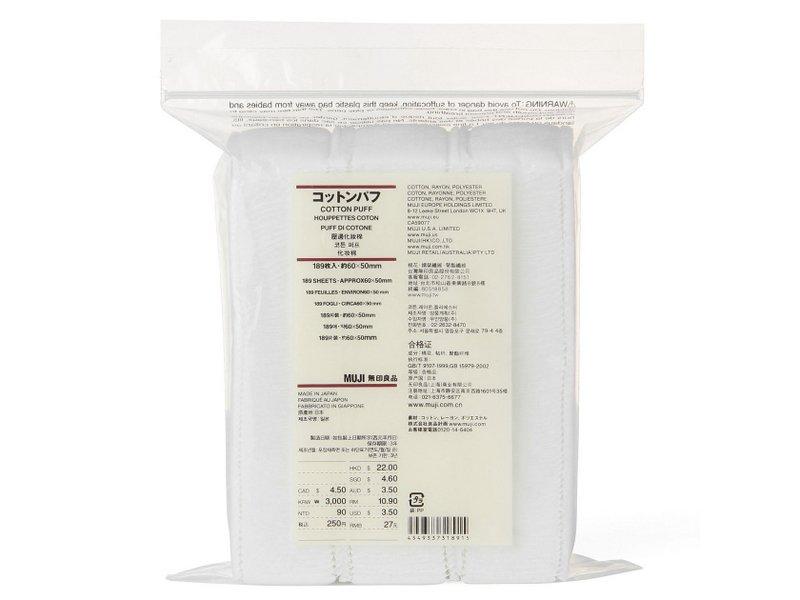 Bông Tẩy Trang Muji Cotton Puff 189 Miếng - Hàng Nhật nội địa