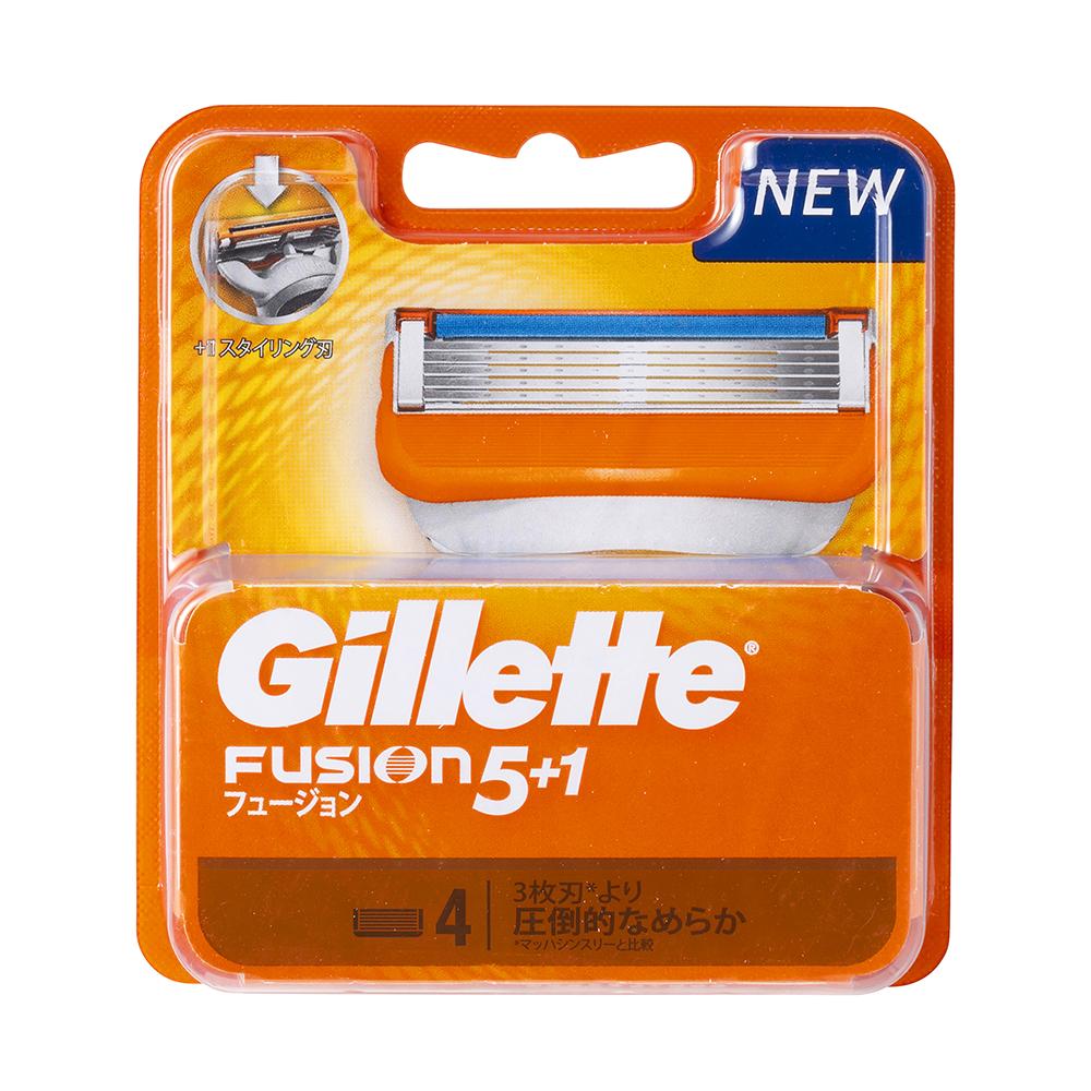 Set 4 lưỡi dao cạo râu Gillette Fusion Nhật Bản 5 lưỡi kép ( vàng)- Hàng Nhật nội địa