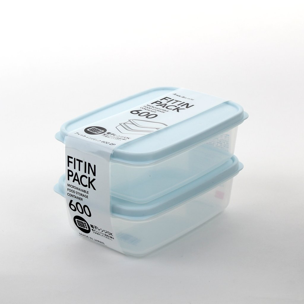 Set 2 hộp nhựa nắp dẻo 600ml (màu xanh Mint) - Hàng Nhật nội địa