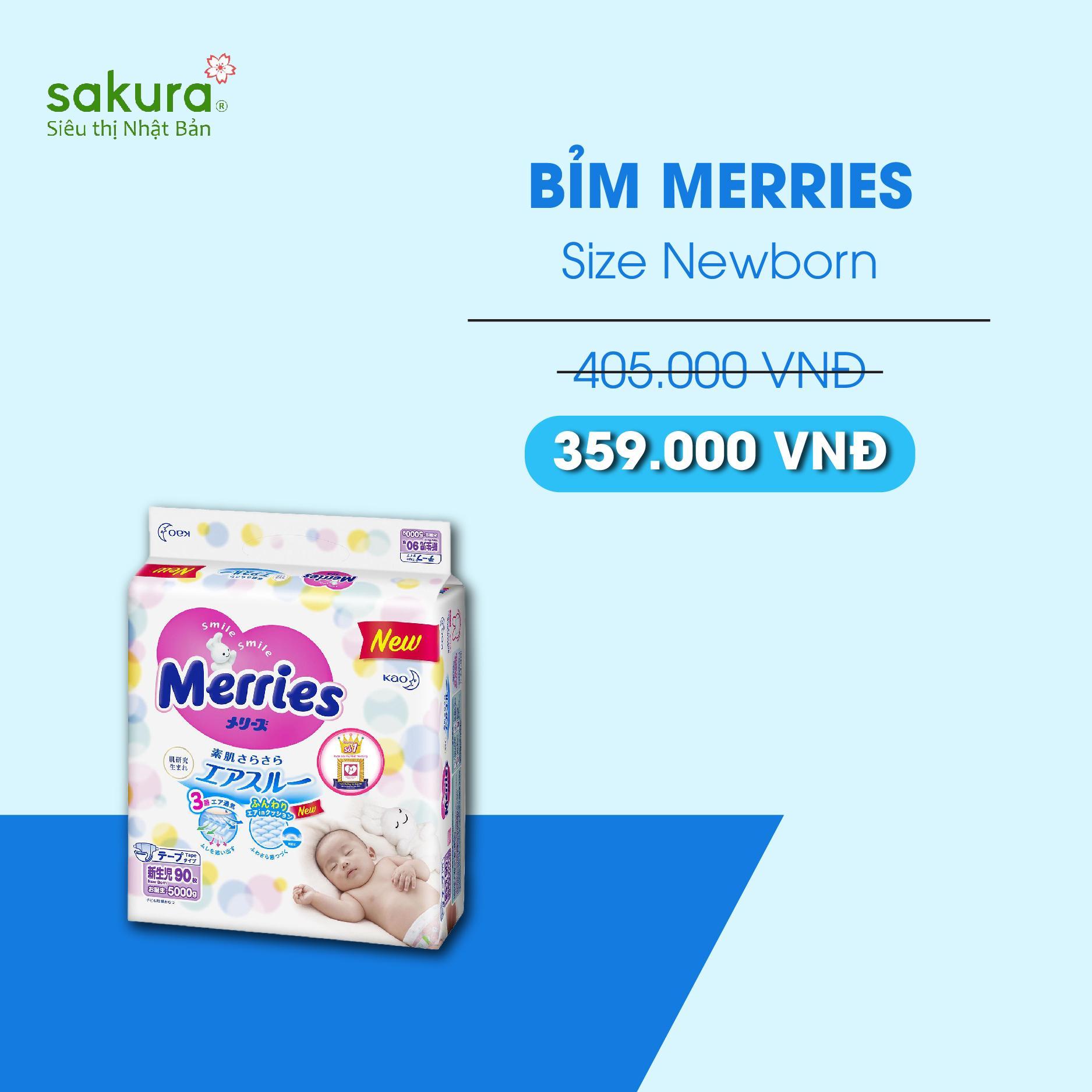 Bỉm Merries NB90 ( cộng miếng) - Hàng Nhật nội địa
