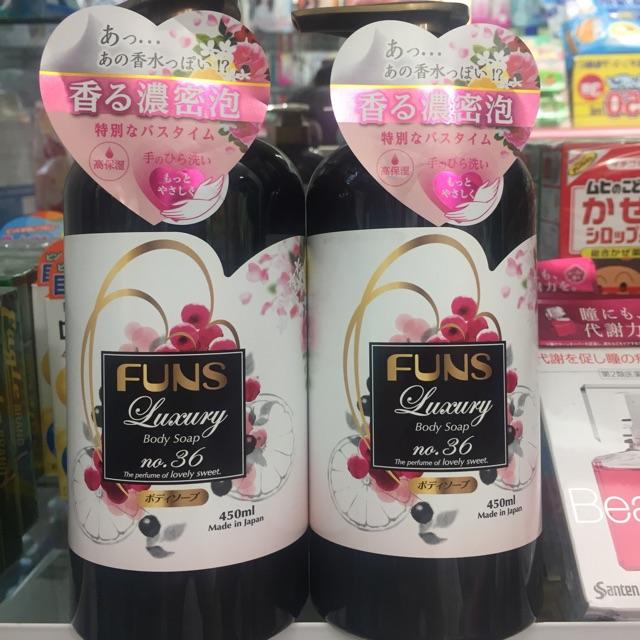 Sữa tắm làm sáng da hương hoa quả Funs - Hàng Nhật nội địa