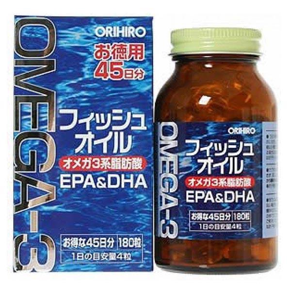Viên uống dầu cá Omega 3 Orihiro 180 viên - Hàng Nhật nội địa