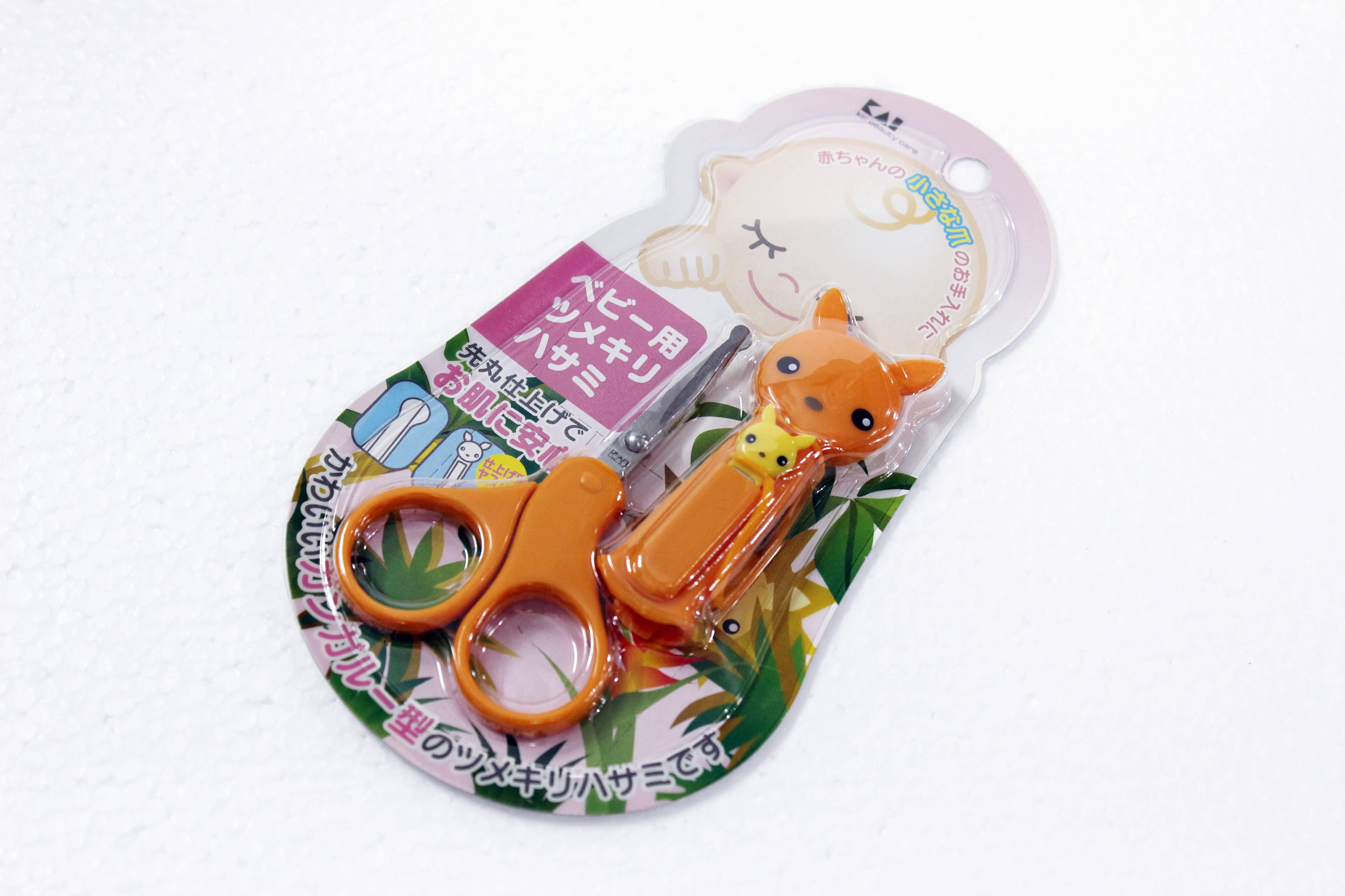 Kéo cắt móng tay cho bé kèm nắp đậy KAI- Hàng Nhật nội địa
