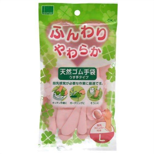 Găng tay từ cao su thiên nhiên Okamoto màu hồng size L - Hàng Nhật nội địa